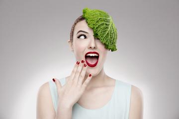 Portrait of a woman illustrating a vegan concept