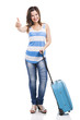 Beautiful young woman carrying her luggage ready for trave
