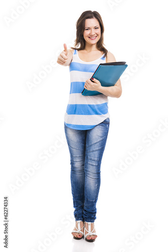 Beautiful young student, isolated over white background