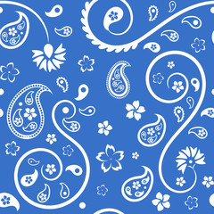 Seamless floral ornament with turkish (indian) cucumbers