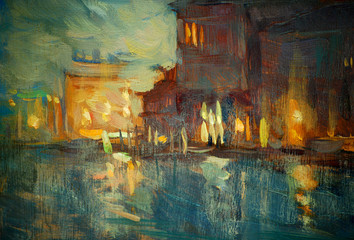 night to Venice, painting by oil on canvas,  illustration