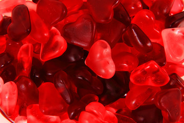 red jelly candy hearts