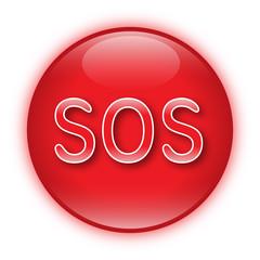 Roter glänzender Button mit SOS-Symbol – Vektor