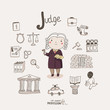 Cute vector alphabet Profession. Letter J - Judge - 62276125