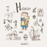 Cute vector alphabet Profession. Letter H - Historian