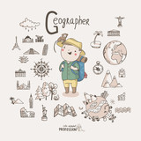 Cute vector alphabet Profession. Letter G - Geographer