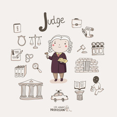 Cute vector alphabet Profession. Letter J - Judge