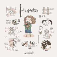 Cute vector alphabet Profession. Letter I - Interpreter