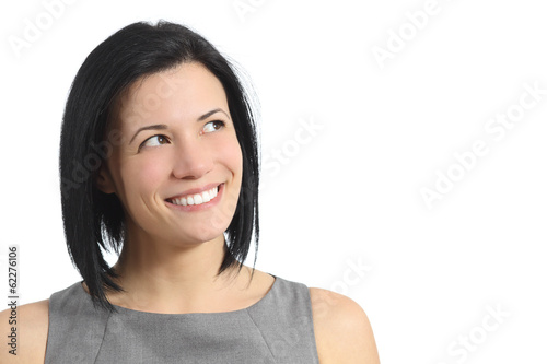 Portrait of a happy smiling woman looking sideways