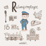 Cute vector alphabet Profession. Letter R - Railway Employee