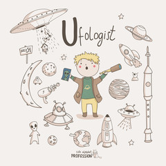 Cute vector alphabet Profession. Letter U - Ufologist