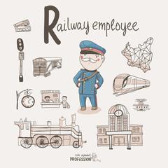 Cute vector alphabet Profession. Letter R - Railway Employee