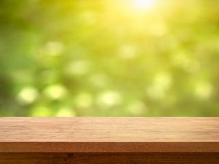 Table on Bokeh Foliage with Sun