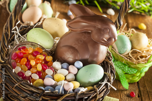 Chocolate Easter Bunny in a Basket