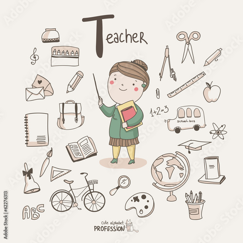 Cute vector alphabet Profession. Letter T - Teacher