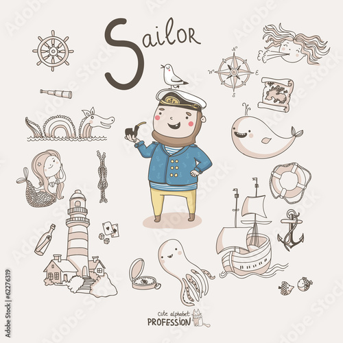 Cute vector alphabet Profession. Letter S - Sailor