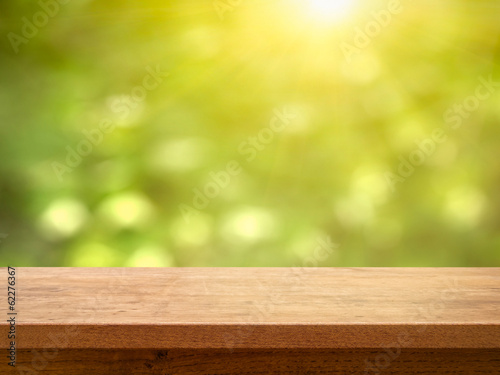 Table on Bokeh Foliage with Sun