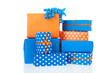 Gifts in blue and orange