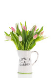 Vase tulips in pink and white