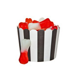 Bone shaped Jelly candies and a black and white paper cup