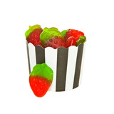 Strawberry flavour Jelly candies and a black and white paper cup