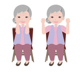 Old woman exercises by  lifting her arms