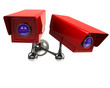 Two red surveillance camera