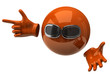 Orange sphere with sun glasses and hand with index finger