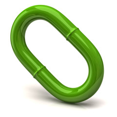 One green chain link isolated on white background