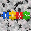 Abstract puzzle background with word Lean