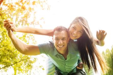 Beautiful couple having fun outdoor.