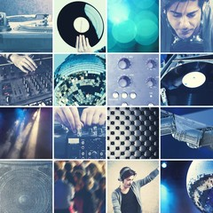 DJ playing music collage