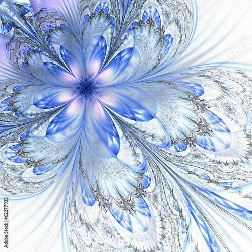 Dark blue purple black fractal flower