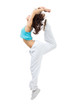 Sporty woman modern slim hip-hop style teenage girl jumping danc