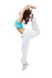 Sporty woman modern slim hip-hop style teenage girl jumping danc