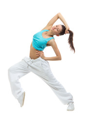 Young modern slim dancer girl exercise hip-hop style pose on the