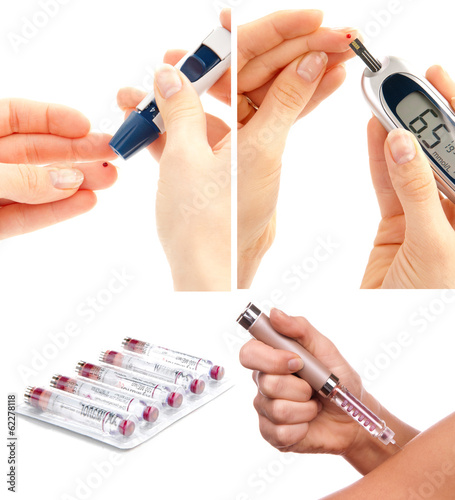 Diabetes diabetic concept collage with insulin syringe shot