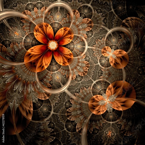 Dark orange fractal flower, digital artwork