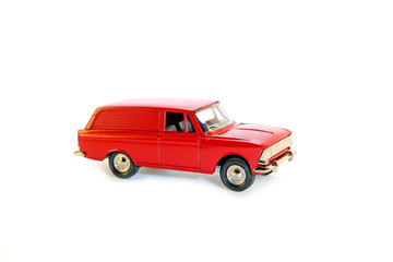 "Collectible toy model red car ""Moskvitch"""