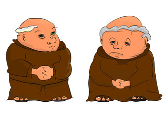 Cartoon illustration of two elderly monks. Vector.