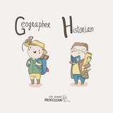 Cute vector alphabet Profession. Geographer. Historian.