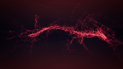 Connected red glowing lines dancing twisting and tangling