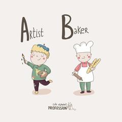 Alphabet Profession. Letter A - Artist. Letter B - Baker.