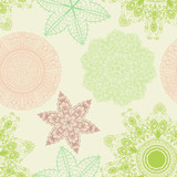 Seamless elegant vintage green pattern with hand drawn flowers