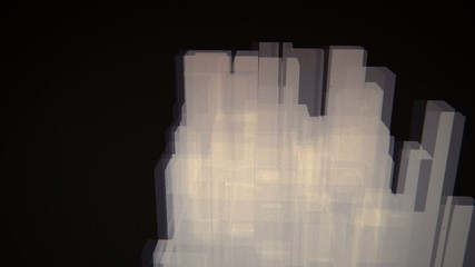 3D cityscape of translucent rectangles pulsating and rotating