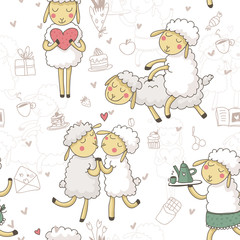 Cute seamless vector pattern of sheeps in love and sweets