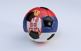 Soccer ball with flag of Serbia