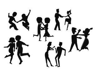retro dance party in silhouette