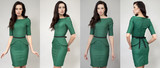 Collage beautiful women in green dress