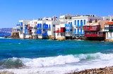 View of the Little Venice district of Mykonos, Greece